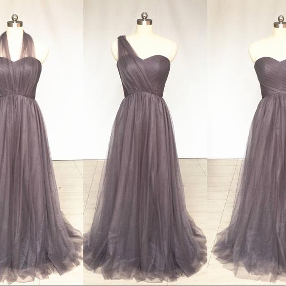 fd6d3560928 Grey Sweetheart Chiffon Tulle Convertible Dress. Boutique